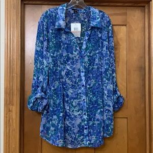 Erika Floral Semi Sheer Roll Sleeve Blouse 2X NWT